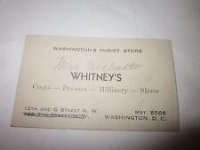 Vintage Whitneys Washington DC Thrift Store Coats Dresses Business Card