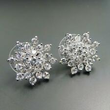 Shiny Silver Rhodium Plated Sparkling CZ Cubic Zirconia Snowflake Stud Earrings