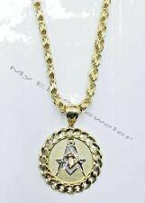 10K Men's Necklace & Pendant Set Chino Byzantine Chain & Masonic Charm REAL Gold