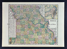 c 1900 George Cram Map - Missouri - St. Louis Kansas City Jefferson Columbia MO