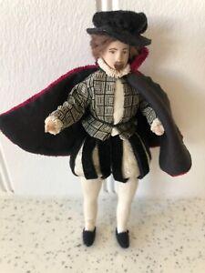 Dolls house miniature 1:12 Tudor porcelain gentleman doll