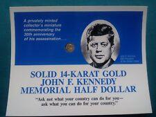 14kt GOLD JOHN F. KENNEDY MEMORIAL HALF DOLLAR Miniature Half Dollar #696