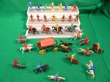 VINTAGE MPC PLASTIC COWBOYS INDIANS HORSES STAGE COACH