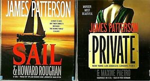 Lot of 2 Audiobooks by James Patterson on CD ~ Private & Sail