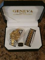 GENEVA Mens watch braclet combo iced out bling gold Silver stainless quartz gold