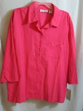 NWT Allyson Deep Rose Blouse Skirt Top Jacket 3/4 Slv Beads Rhinestone Plus 3X