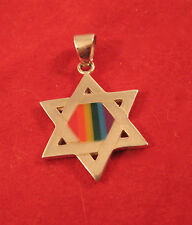 Sterling Silver Star of David Pendant with Rainbow - Peter Stone Design