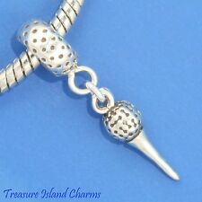 GOLF BALL AND TEE .925 Solid Sterling Silver EUROPEAN EURO Dangle Bead Charm