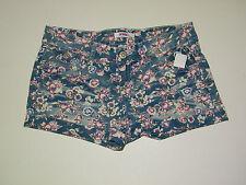 Jean Short Shorts Size 1 Bongo Juniors Light Wash Floral Cuffed Denim