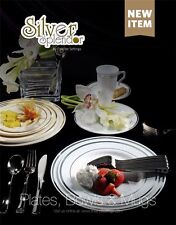 1000 pieces Plastic China Plate and Silverware Combo White with Silver Trim