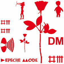 Set rot Depeche Mode Aufkleber Tattoo Auto Deko Folie Rose Vogelfrau Mr Feather