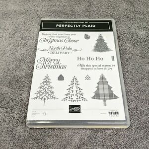 Stampin Up Perfectly Plaid photopolymer 149418 Christmas winter trees holidays
