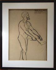 Charles Emmanuel JADIN 1845-1922.Le laboureur.Etude.Fusain.48x31.Cachet atelier.