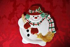 Fitz And Floyd Ff Cookie Canape Plate Plaid Christmas Snowman Canape 2063/126