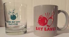 Lot Of 2 Bay City Mi Bowling Bay Lanes Mug Cocktail Glass K Of C Kitschy Barware