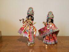 "New Brass Radha Krishna Deity 9"" Clothed Hare Krishna Hindu India"