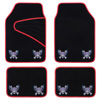 Universal Car Floor Mats Red Black Embroidery Pirate Style Anti-slip for SUV VAN