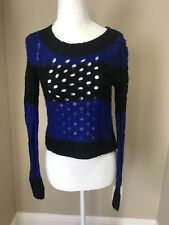 WET SEAL Blue & Black stripe chunky cable knit open work sweater Size XS