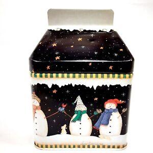 2002 Valorie Evers Wenk Applejack Snowman Collectible Tin 8 oz Carton Shape