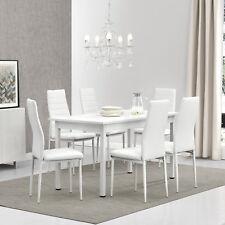 [en.casa]® Esstisch mit 6 Stühlen weiß 140x60cm Küchentisch Esszimmertisch Tisch
