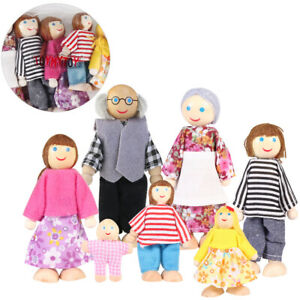 7 in 1 Wooden Poseable Doll House Family Dollhouse Figures People Lot Toy Gift
