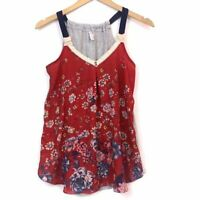 XHILARATION Red Pink Blue Gray Floral Crochet Sleeveless Tank Top XS Extra Small