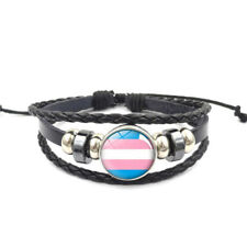 Transgender Adjustable Leather & Glass Cabachon Wristband