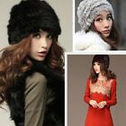 Fashion Russian Lady Rabbit Fur Knitted Cap  Women Winter Warm Beanie Hat SY