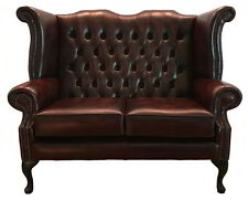 Chesterfield Genuine Leather Queen Anne Two Seater Sofa Antique Oxblood Red