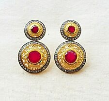 Fascinating Handcrafted Diamond & Ruby Sterling Silver Earring