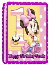 MINNIE MOUSE BABY EDIBLE CAKE TOPPER BIRTHDAY DECORATIONS