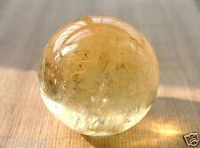 40MM Natural Citrine Calcite Quartz Crystal Sphere Ball Healing Gemstone+Stand