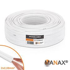 30m Lautsprecherkabel (Single-Wire) 2x2,5mm² CCA weiß Metermarkierung