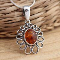Cognac Baltic Amber 925 Sterling Silver Daisy Flower Pendant  Jewellery