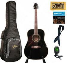 Oscar Schmidt OG2 Left Hand Dreadnought Acoustic Guitar Black Gigbag Bundle OG2B