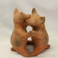 """Dancing Colima Dogs Pre Columbian Style Mexican Folk Art Aztec Mayan Pottery 9"""""""