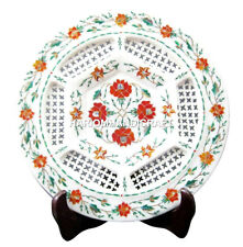 """15"""" Lattice Marble Hakik Floral Serving Plate Handcarved Inlay Home Decor H1858A"""