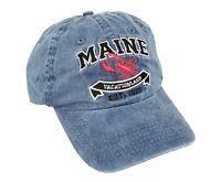 Maine State Vacationland Hat with Lobster Crest Navy Blue