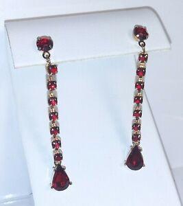 Ruby Red Post Earrings Drop Dangle  Rhinestones Avon Gold Tone