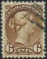 Canada #39 used XF 1872 Queen Victoria 6c yellow brown CV$35.00