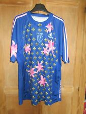 Maillot rugby Stade Français Paris SF bleu fleur 2009 ADIDAS vintage shirt XXL