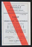Dépliant automobile TARIF 1931 RENAULT VEHIVCULES INDUSTRIEL automobilia