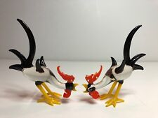 Vintage Murano Style Hand Blown Art Glass Rooster Pair