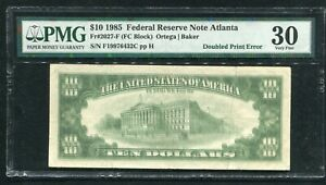 "FR. 2027-F 1985 $10 FRN FEDERAL RESERVE NOTE ""DOUBLED PRINT ERROR"" PMG VF-30"