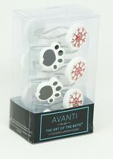 Avanti Happy Pawlidays Dog Paws / Snowflake Christmas Holiday 12 Pc Shower Hooks