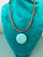 "Turquoise Pendant On Rope Necklace Betini Santorini Greece 18"""