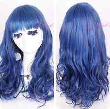 Lolita Harajuku Peacock Blue 50cm Long Curly Wave Party Cosplay Wig USA Ship