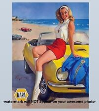 Vintage Hot Girl Camaro PHOTO Ad Blonde NAPA Pin-Up Girl 67-69 Chevy Beach Babe