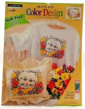 1995 ColorPoint Painstitching Transfer Pattern Cat w/ Flowers Fabric Paint 7470F