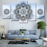 OM Buddha Mandala Zen Symbol HD 5 piece Art Poster Wall Home Decor Canvas Print